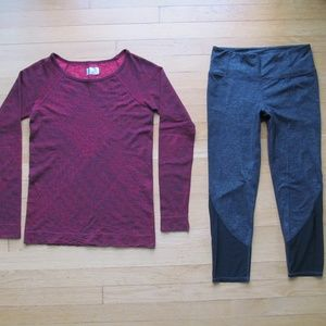 Athleta Two Athletic Workout Clothing Top & Crop